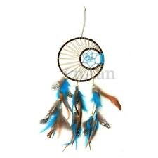 Large Handmade 2 Rings & Star w/ Color Feathers Dream Catcher Wall Hanging Decor