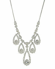 GIVENCHY Swarovski Silver-Tone Clear Crystal Tear Drop Frontal Necklace $98