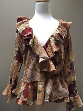 NWT CHAPS Ralph Lauren Women Medium  Browns Reds Floral Ruffled Wrap Blouse Top