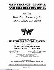 Matchless Maintenance Instruction Manual 1949 49/G3L &  49/G80L Clubman Models
