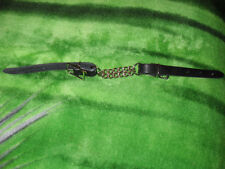 NEW BLACK LEATHER CHIN STRAP/CURB WITH DOUBLE CHAIN,  HORSE SIZE USA MADE