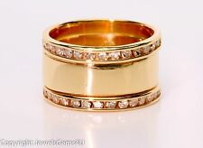 14K Yellow Gold 0.70 ct Diamond 10mm Wide Cigar Band Ring Sz.5.5