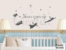 Vinyl Wall Decal Sticker Peter Pan Tinkerbell Never Grow Up Nursery Fairy r1902