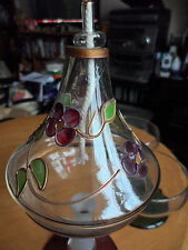DECORATIVE OIL BURNER GLASS HAND BLOWN CLEAR PURPLE/GREEN FLOWNEVER USED.19CM TA