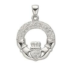 Sterling Silver Pave Set Cubic Zirconia Claddagh Drop Pendant