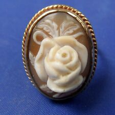 STUNNING VINTAGE 1966 9CT GOLD CARVED SHELL ROSE FLOWER CAMEO RING SIZE M