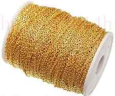 5M/100M Silver/Gold Plated Cable Open Link Iron Metal Chain Jewelry Findings DIY