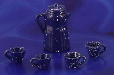 Miniature Dollhouse Blue Enamelware Coffee Set 1:12 Scale New