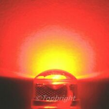 5 PCs HP 1W 8mm 140° StrawHat 660nm RED LED 180,000mcd