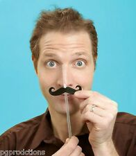 3 MOUSTACHE STRAWS Pack Clear Birthday Party Funny Clips Black Plastic Mustache