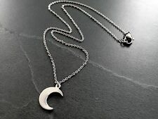 "Tiny Silver Stainless Steel Crescent Moon Charm Pendant Necklace on 16"" Chain"