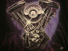 Vintage 3D Emblem Motorcycle Live To Ride V2 Engine San Francisco T Shirt L