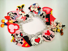 Disney Mickey & Minnie Mouse Valentines Day Bracelet Handmade Plastic Charms