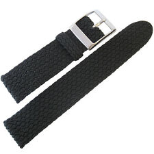 18mm Eulit PALMA PACIFIC Black Two-Pc Woven Nylon Perlon German Watch Band Strap