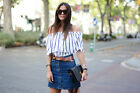 NEW ZARA BLUE STRIPED OFF SHOULDERS PEPLUM FRILL CAMBRAY TOP BLOUSE M