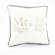 Mr Right & Mrs Always Right Mini Cushion Pillow Novelty Home Sofa.