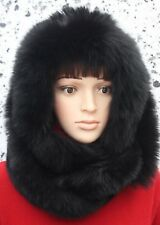 FOX FUR GENUINE REAL BLACK DOUBLE FOX FUR FINE WOOL SNOOD SCARF COLLAR HAT HOOD