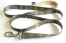 1.5m LONG DOG LEADs ARMY CAMOUFLAGE GREEN WITH GOLD DOUBLE WEBB HANDLE