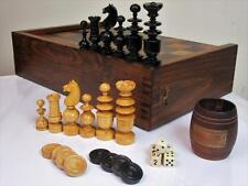 ANTIQUE EARLY 20th C  LARGE CHESS - BACKGAMMON  SET +  BOARD,COUNTERS & 5 DICES