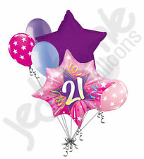 7 pc Happy 21st Birthday Pink Star Burst Balloon Bouquet Party Decoration Adult