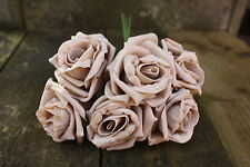6 x PALE COFFEE MOCHA LUXURY COLOURFAST FOAM COTTAGE ROSES 6cm WEDDING FLOWERS
