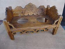 RARE Ancien mangeoire fin 19ème siècle pour chien en bois sculpté sur pied