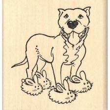 Pit Bull in Bunny Slippers Rubber Stamp - (RH20814) FREE SHIPPING
