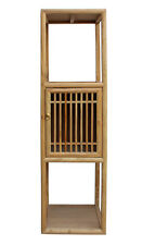 Chinese Raw Wood Slim Narrow Tall Open Display Storage Corner Cabinet cs2250