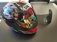 Shoei RF-1000 Motorcycle Helmet With Skulls Black Red & White two shields Small