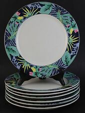 "VTG 7 Pc Vitromaster Key Largo Porcelain 10.75"" Dinner Plate Set"