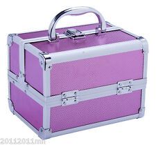 New Professional Makeup Case Train Travel Cosmetic Organizer Case Pink
