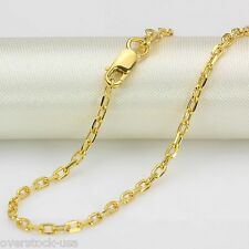 18INCH Pure 18K Yellow Gold Necklace 2mm Cable Chain Necklace Au750