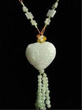 Elegant Beaded Chain Fringe Carved Jadeite Jade Blessing Word Heart Necklace