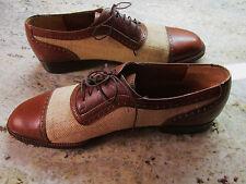 Salvatore Ferragamo Spectators 9.5 D Oxford Shoes Brown Linen Lace Up  Italy