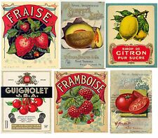 Vintage Fruit Label Collage Handmade Fabric Block - Great 4 Crafting