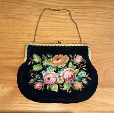 VINTAGE TAPESTRY CLUTCH BAG BLACK FLORAL CHAIN HANDLE