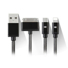 3 in 1 USB Charger Cable Adapter For iPhone 4 5 6S Samsung (8 Pin 30 Pin Micro)