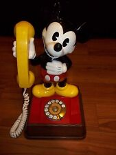 VINTAGE DISNEY MICKEY MOUSE YELLOW ROTARY PHONE 1976