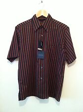 BNWT ARMAND BASI S/Sleeve Shirt In Black/Brown Stripe Size M