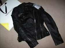KAREN MILLEN BLACK SIGNATURE LEATHER JACKET SIZE 8 £350 BNWT