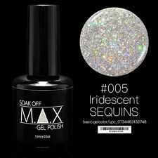 MAX 15ml Soak Off Gel Polish Nail Art UV LED Color #005 - Iridescent Sequins