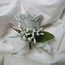 Silver*Rose Bud*Open Rose Boutonniere*corsage*Wedding*Prom*Quinceanera