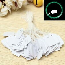 100Pcs White Scallop Blank Price Merchandise Tags Labels Pre-Strung For Jewelry