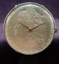 Serviced~1888 USA Morgan Silver Dollar REAL Coin Watch~Swank~17J~RED GOLD HANDS