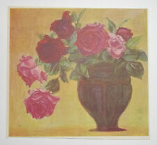 VASE OF ROSES, ROSE : 1930s Art Print of a Japanese Artwork