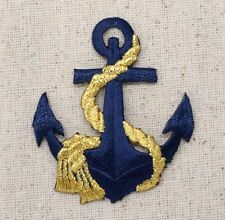 Iron On Embroidered Applique Patch Nautical Navy Blue Anchor with Gold Rope