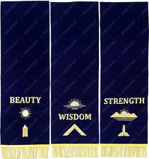 MASONIC BLUE LODGE PEDESTAL COVERS HAND EMBROIDERED - SET OF THREE (MPCS-02 G)