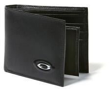 Oakley Men's Leather Bi-fold Money Wallet + Credit Card ID Holder - Black