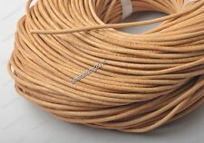 2yards 2MM Natural Genuine round Leather cord Cowhide diy findings