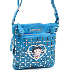 Classic Betty Boop Messenger Bag with Rhinestones and Cut Out Design - Blue